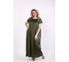 Однотонное длинное платье хаки КККV015-01522-3