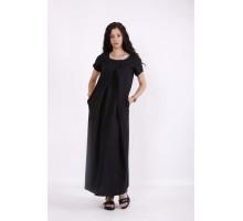 Красивое черное льняное платье в пол КККV016-01523-1