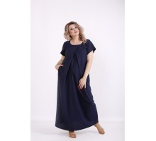 Красивое синее льняное платье в пол КККV017-01523-2