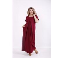 Красивое бордовое льняное платье в пол КККV018-01523-3