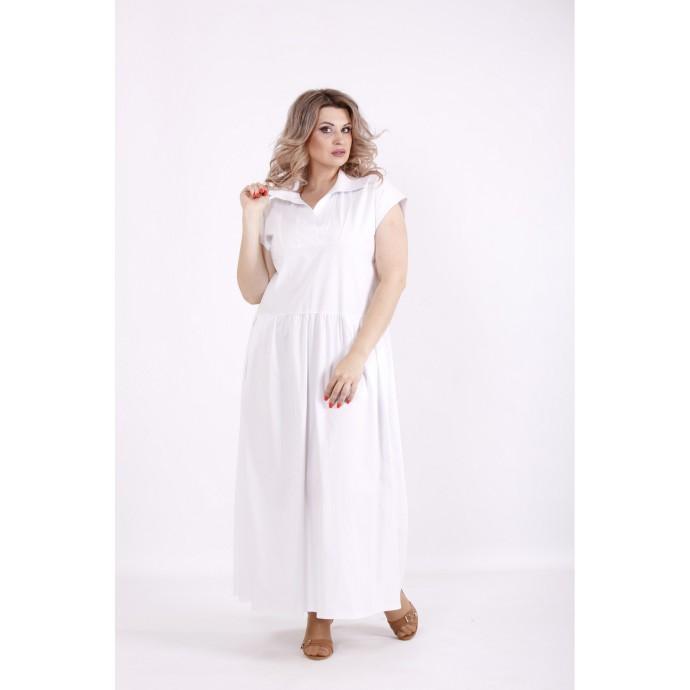 Белое легкое платье из бенгалина КККV022-01525-1