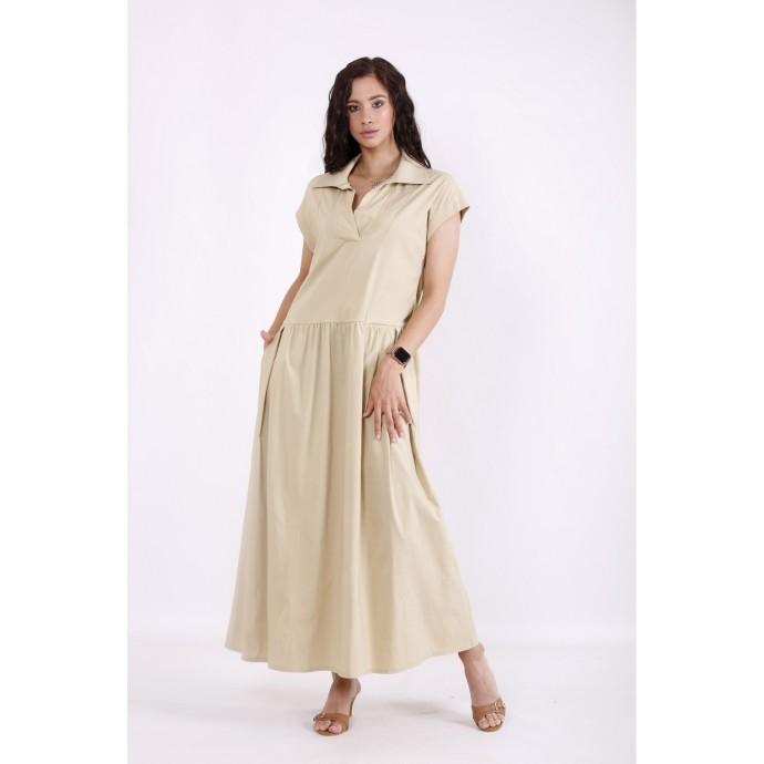 Горчичное легкое платье из бенгалина КККV023-01525-2