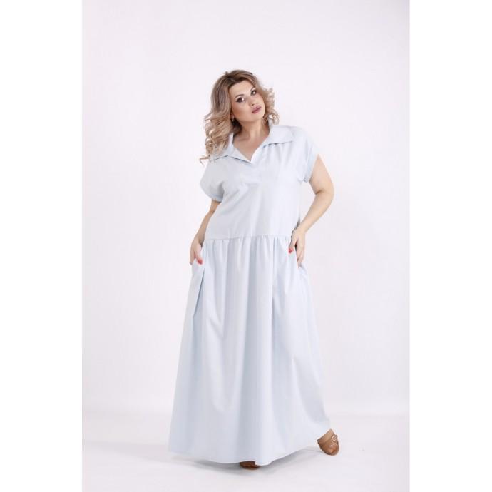 Голубое легкое платье из бенгалина КККV024-01525-3