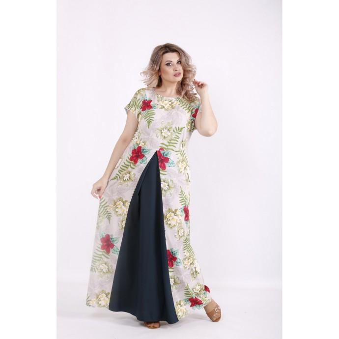 Бежевое платье с принтом КККV025-01526-2