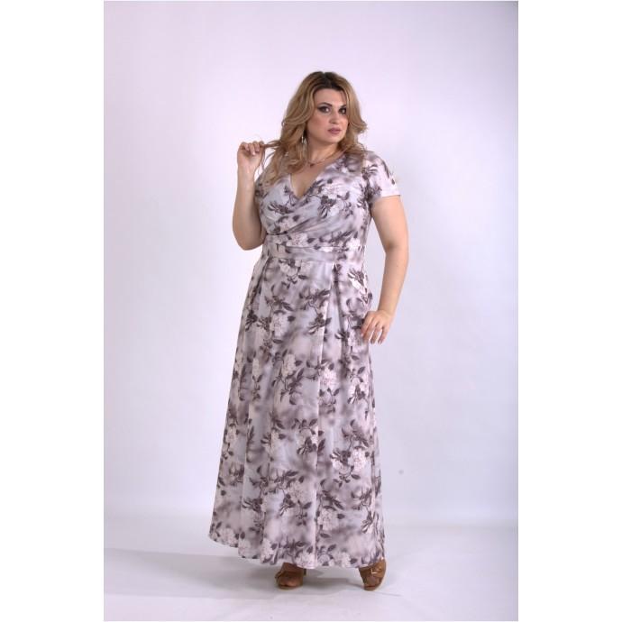 Красивое скрывающее платье в пол мокко ККК33311-01162-2