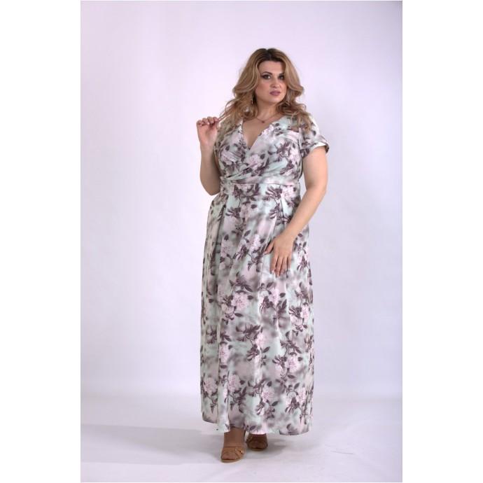 Нежное оливковое платье в пол ККК33312-01162-1