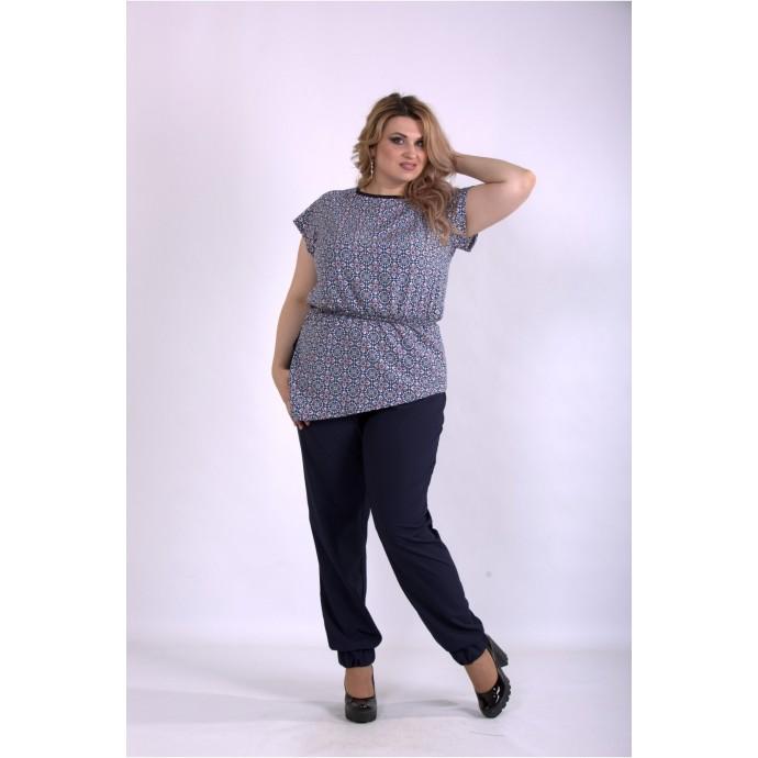 Удобный костюм однотонные штаны и блузка с узором ККК33316-01160-3