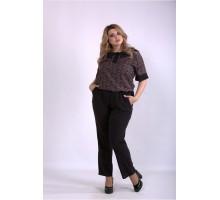 Черные брюки и блузка с бежевым принтом ККК33320-01159-2
