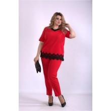 Алый костюм-двойка: брюки и блузка ККК33329-01156-2