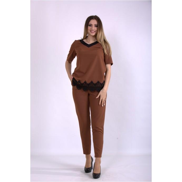 Костюм брюки и блузка цвета виски ККК33330-01156-1
