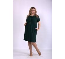 Зеленое прямое платье из льна ККК33338-01153-2