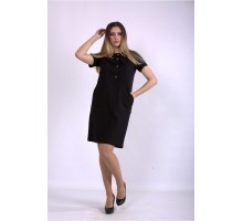 Черное льняное платье ККК33339-01153-1