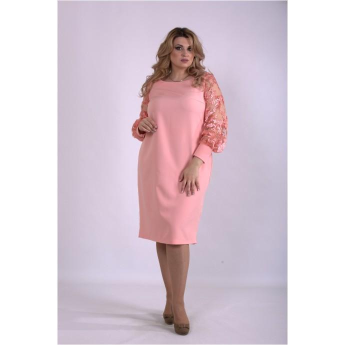 Пудровое платье с прозрачными рукавами ККК33341-01152-2