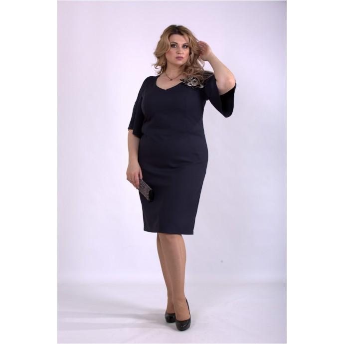 Темно синее платье из костюмки ККК33347-01150-1