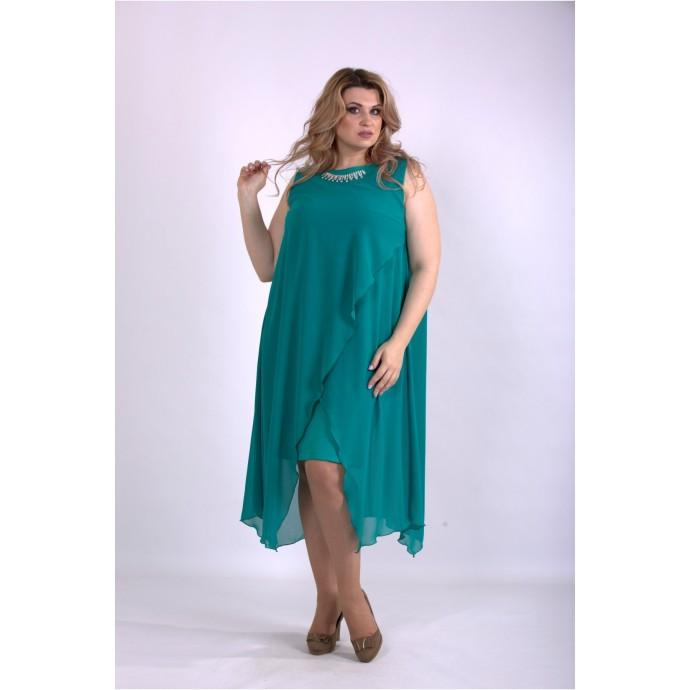 Зеленое асимметричное платье ККК33355-01147-2