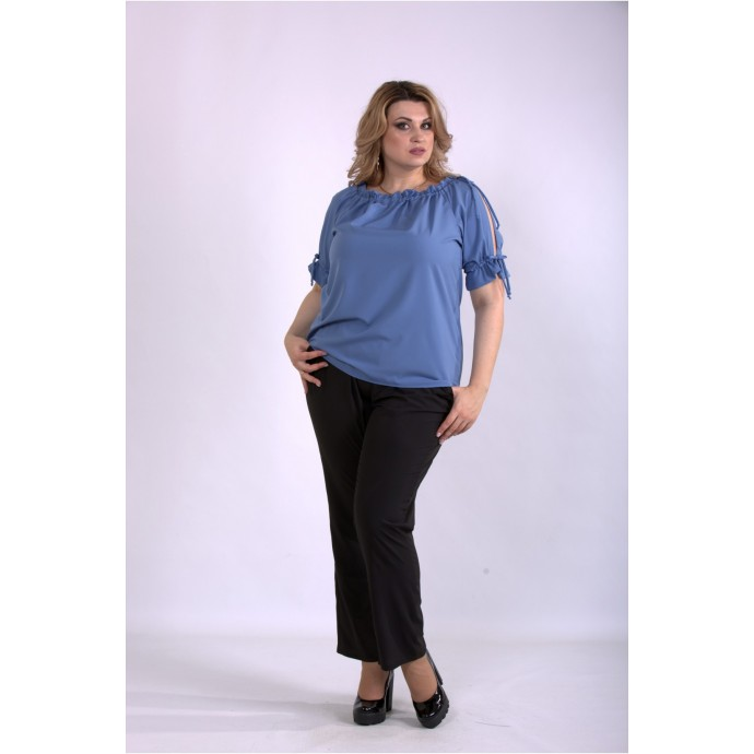 Костюм брюки и блузка джинс ККК33359-01146-1