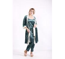 Велюровый зеленый халат КККN4-01671-4