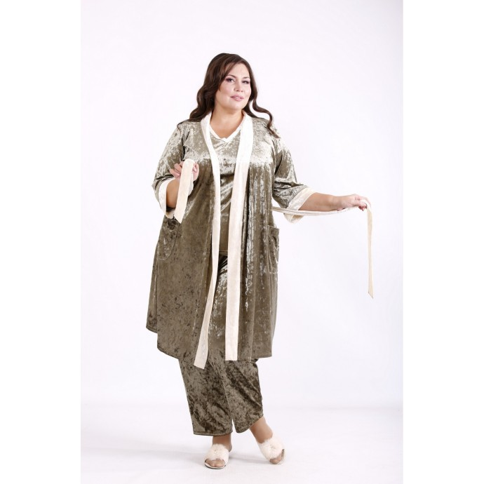 Велюровый халат хаки КККN1-01671-1