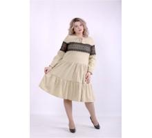 Светлое платье с пышной юбкой ККК88835-01396-2