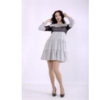 Светлое серое короткое платье ККК88836-01396-1