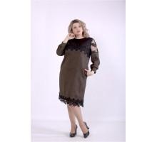Коричневое платье с вышивкой ККК88837-01395-3