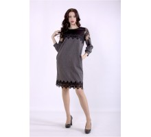 Светло-серое платье с вышивкой на сетке ККК88839-01395-1
