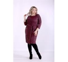 Баклажанное платье с поясом ККК88840-01394-3