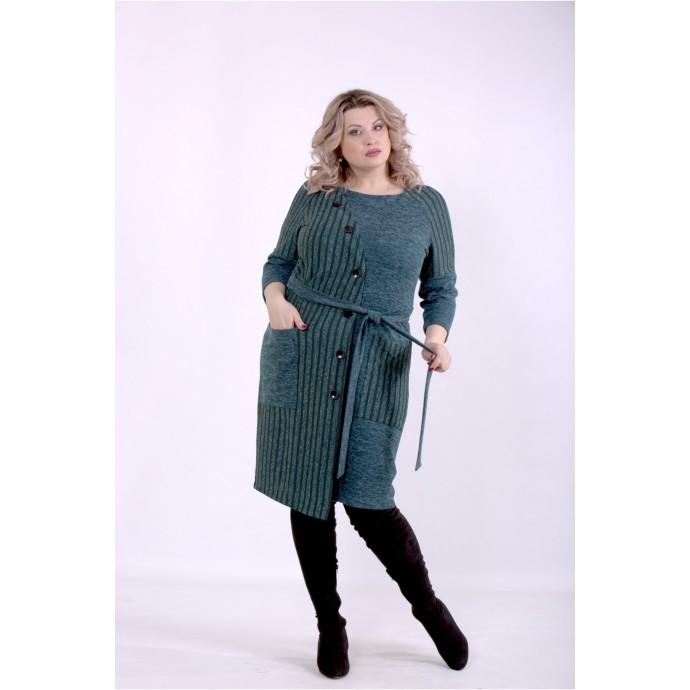 Зеленое платье с поясом ККК88841-01394-2