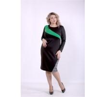 Черное платье с зеленой вставкой ККК88849-01391-3