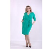 Зеленое однотонное платье ККК88852-01390-3