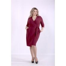 Бордовое однотонное платье ККК88853-01390-2