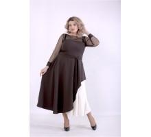 Шоколадное платье с поясом ККК88855-01389-3