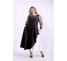 Черное пышное платье с поясом ККК88856-01389-2