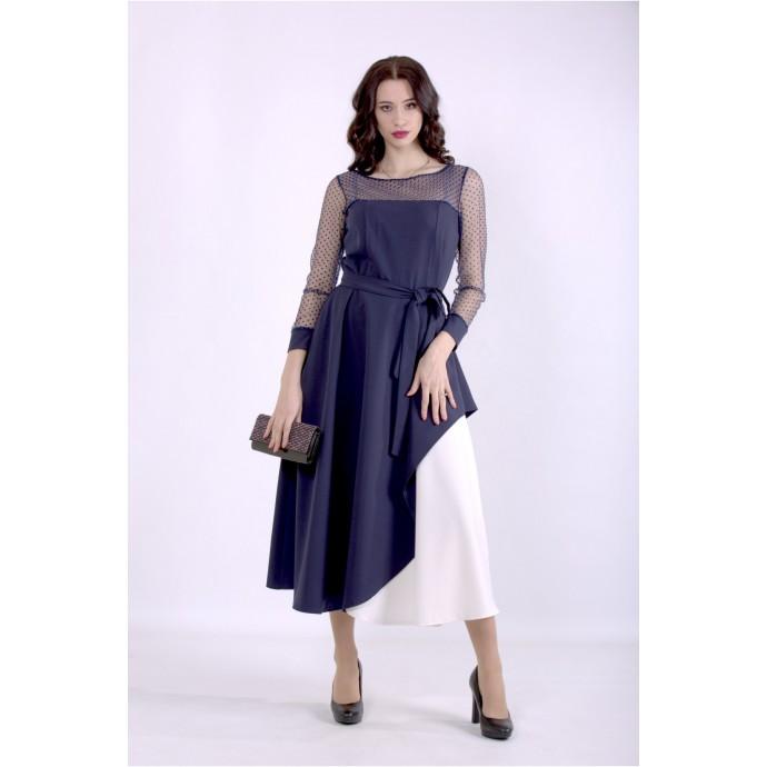Синее нарядное платье с поясом ККК88857-01389-1