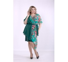 Зеленое асимметричное платье ККК88859-01388-2