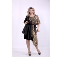 Леопардовое с черным асимметричное платье ККК88860-01388-1