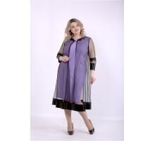 Сиреневое платье с сеткой ККК88861-01387-3