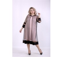 Пудровое платье с сеткой ККК88862-01387-2