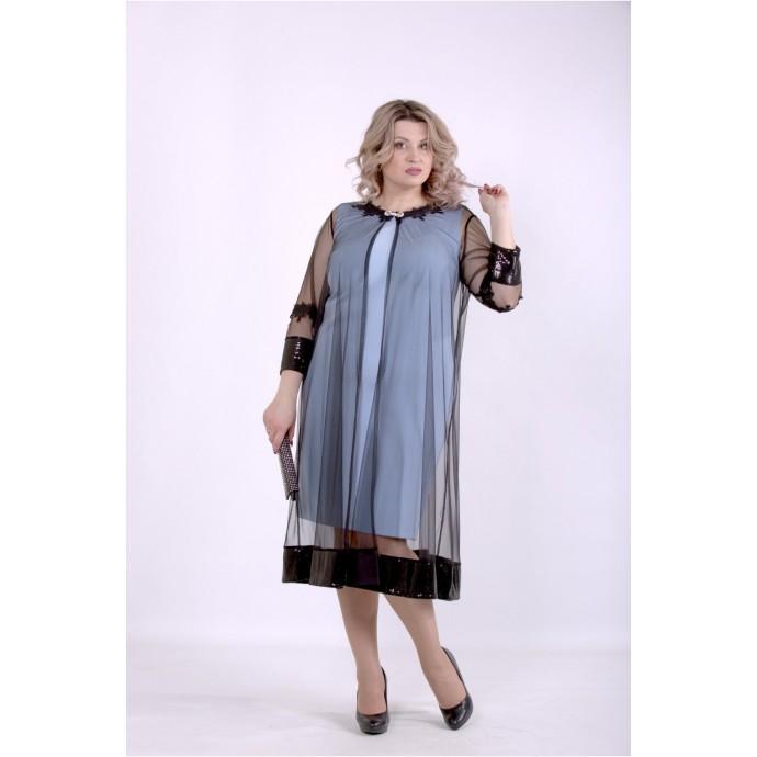 Голубое платье с сеткой ККК88863-01387-1