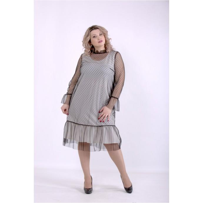 Платье молоко с сеткой ККК88864-01386-3