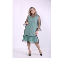 Платье мята с сеткой ККК88865-01386-2