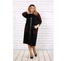Темное с красным платье с эко-кожей ККК1719-0703-3