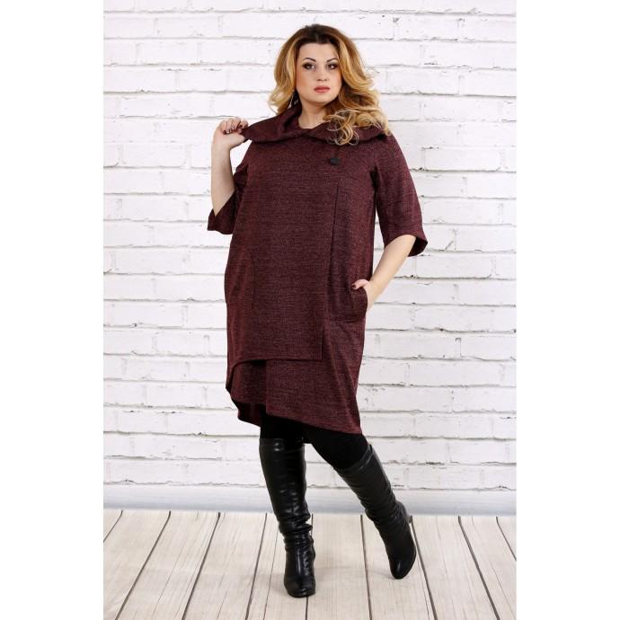 Бордовое платье из ангоры ККК1756-0687-2