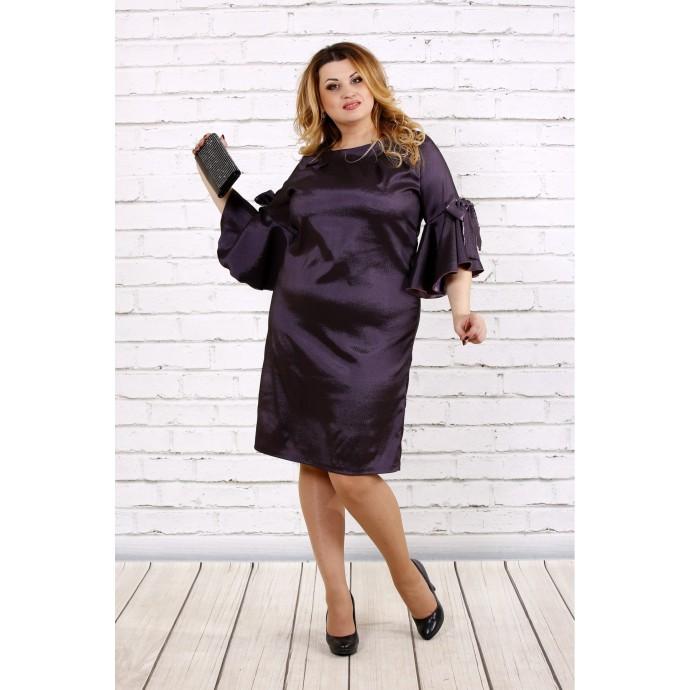 Темное сливовое платье из тафты ККК1710-0705-3