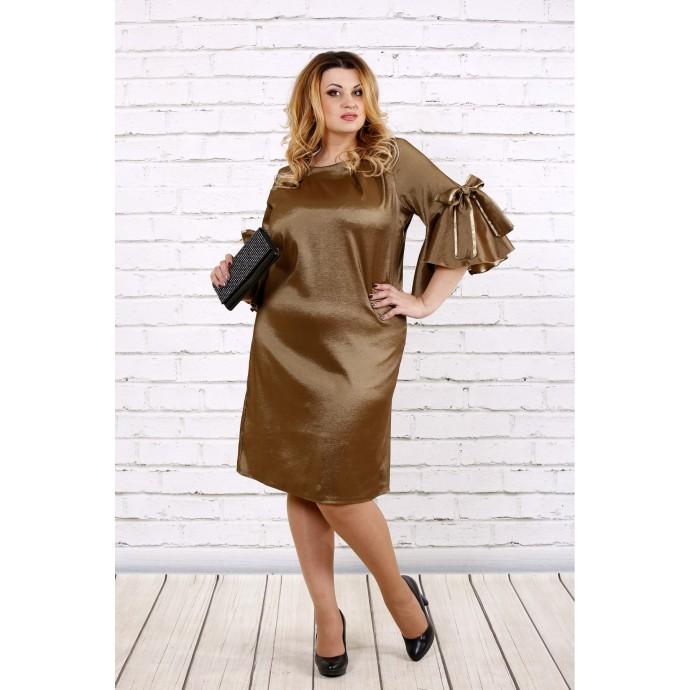 Горчичное платье из тафты ККК1712-0705-1
