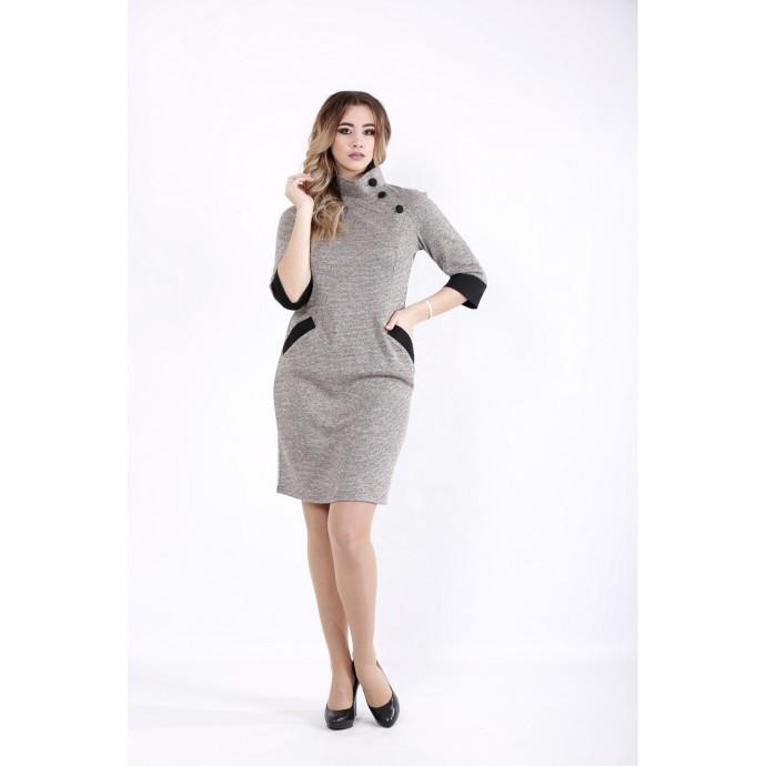 Пудровое платье с карманами ККК523-01062-2