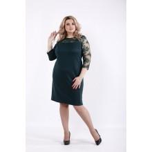 Зеленое стильное платье с рукавами сеткой ККК528-01060-3