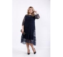 Темно синее нарядное и оригинальное платье ККК516-01064-3