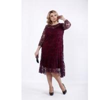 Нарядное платье бордо з сеткой ККК518-01064-1