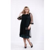 Трикотажное нарядное платье с органзой ККК520-01063-2